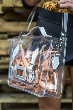 clear satchel with neon or metallic leather details transparent / pvc Clear Plastic Bags, Clear Bags, Clear Handbags, Purses And Handbags, Fashion Handbags, Fashion Bags, Clear Backpacks, Vinyl Clothing, Transparent Bag