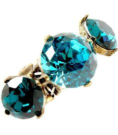 Big Teal Crystal Stretch Ring Prong Set 1.75 in Burnish Gold Tone