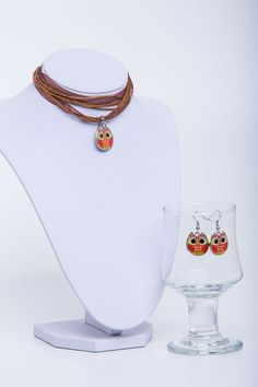 Kinderkette,Eule,Set,Ohrringe,Orange von Sylo Ketten auf DaWanda.com