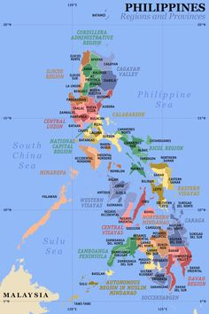 Map of the Philippines showing the provinces.