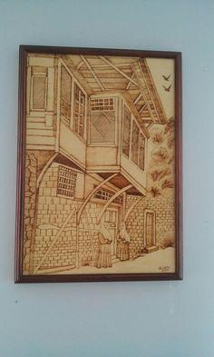 35X50 osmanlı evi ahşap yakma tablo