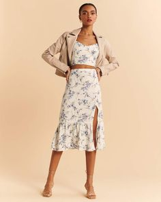 Womens Clearance, Cropped Cami, Rock, Smocking, Midi Skirt, Two Piece Skirt Set, Tie, Skirts, Dresses