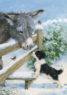 Christmas Donkey, Christmas Animals, Christmas Scenes, Christmas Pictures, Animal Sketches, Animal Drawings, Christmas Paintings On Canvas, Winter Scenery, Christmas Illustration