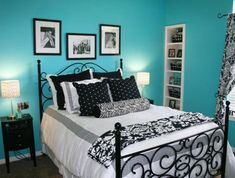 Find This Pin And More On Chloe S Bedroom Ideas Black Black White And Teal