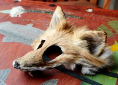 Red fox fur taxidermy mask with canine teeth by Lupa for Halloween costumes, pagan Samhain rites and more! Available at https://www.etsy.com/listing/206782112/real-eco-friendly-wild-red-fox-fur-mask