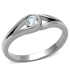 Ring,  StainlessSteel,  High polished (no plating),  AAA Grade CZ,  Clear