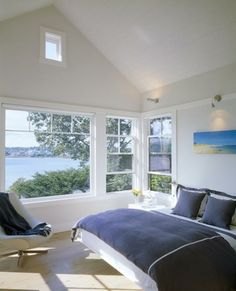 Bedroom with water view