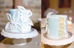 light blue white wedding cake winter wedding reception ideas