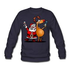 Santa Claus and his reindeer raise their glasses of wine to wish everyone a Merry Christmas. Santa Claus and his reindeer Sweatshirt. #Spreadshirt #Cardvibes #Tekenaartje #SOLD