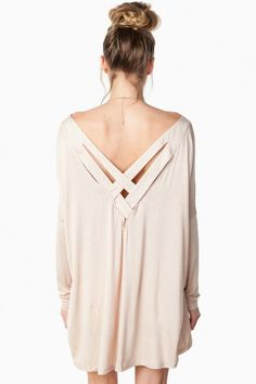 Cross My Heart Top in Taupe