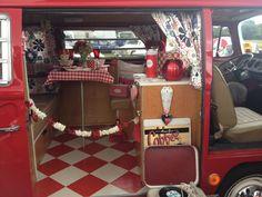 Inside a VW camper van.