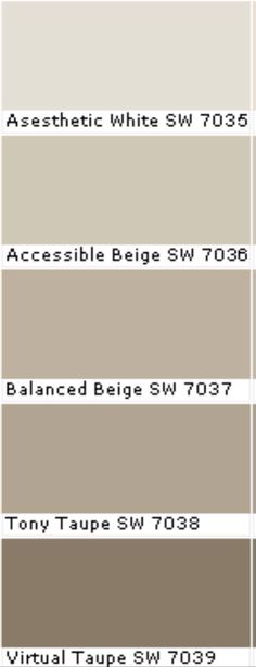 beiges for ledgeview drive living room,din room and famiily room ....SW Accessible Beige & Aesthetic White Walls & trim