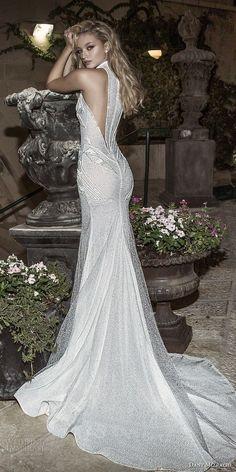dany mizrachi spring 2018 bridal sleeveless halter neck full embellishment high slit art decor vintage elegant sheath wedding dress rasor back chapel train (26) bv