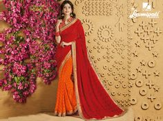 Choose this Perfect Red & Orange Georgette Stone Foil work Saree with Rawsilk Multicolour Blouse along with Jari Embroidered Lace Border from Laxmipati at an upcoming special occasion. #Catalogue #SANGEET Price - Rs. 1917.00 Visit for more designs@ www.laxmipati.com.  #GaneshChaturthi #GaneshChaturthi2016 #Ganesh #monsoon #Shopping #Shoppingday #ShoppingOnline #fashionstyle #ReadyToWear #OccasionWear #Ethnicwear #FestivalSarees #Fashion #Fashionista #Couture #SANGEET0816 #LaxmipatiSaree #Au Laxmipati Sarees, Work Sarees, Occasion Wear, Special Occasion, Lace Border, Printed Sarees, Embroidered Lace, Daily Wear, Bridal Collection