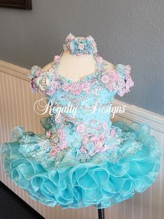 I Love to share my darling beauty dresses. Gorgeous aqua and pink. Pagent Dresses For Girls, White Pageant Dresses, Toddler Pageant Dresses, Purple Bridesmaid Dresses, Tutus For Girls, Little Girl Dresses, Party Dresses, Formal Dresses, Glitz Pageant