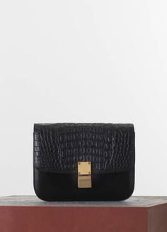 CURVED CLUTCH IN BLACK STAMPED CROCODILE CALFSKIN 25 X 27 X 13 CM ...