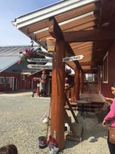 Direction signpost, Morningstar Farms, the Little Qualicum Cheeseworks and MooBerry Wines, Parks