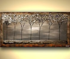 Silver Landscape Blooming Tree Painting Silver by OsnatFineArt