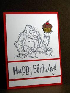 Art Impressions Stamps:   Gorilla (Sku#M1182) birthday card
