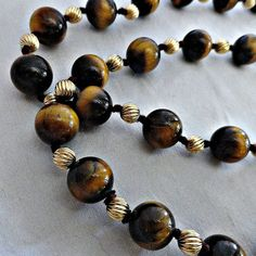 Vintage Tigers Eye 10K Gold Bead 36 Inch by SilverFoxAntiques, $95.00