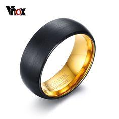VNOX Black Tungsten Rings for Men Jewelry 8MM Tungsten Carbide Men's Ring Wedding Bands