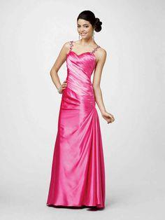 gewebte elastische Satin mit Binde Mantel / Spalte Abendkleid mit Perlen at dresstylish.com