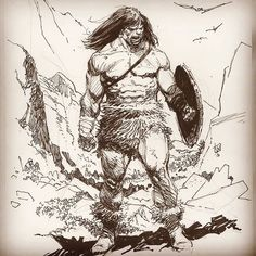 "Lee Weeks su Instagram: ""Big guy sketch— #scribble #conan #thickbody #barbarian #wanderingpen #freedrawing"""