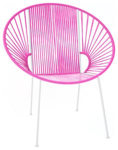 Concha Chair, White Frame With Pink Weave modern chairs