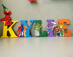 Hand painted wooden letters for Sesame Street birthday party