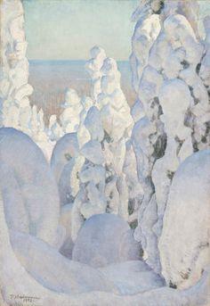 ein-bleistift-und-radiergummi: Pekka Halonen 'Winter Landscape at Kinahmi' 1923 Painting Snow, Winter Painting, Winter Art, Winter Sunset, Winter Landscape, Landscape Art, Landscape Paintings, Canadian Art, Scandinavian Art