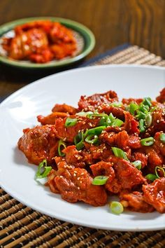 Daeji Bulgogi (Korean Spicy BBQ Pork). Ingredients: pork, gochujang, garlic, ginger, onion, Asian pear, Fuji apple, soy sauce, sesame oil, sugar, scallions, pepper.