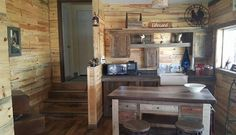Beautiful blue stain pine interior cabin