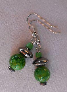 Handmade Earrings Green Mottled Swirl Glass Beads and Hematite Beads By Ivybeehive      2013