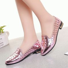 Women's #pink leather low heel shoe #loafer hollow out design, Slip on style, Low cut, Point toe, thick heel, casual, leisure, party events, summer occasions