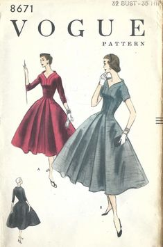 Vintage 1950's Sewing Pattern Classy Ultra Rare One Piece Dress Bust 32""