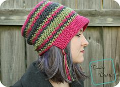 Make this cute crochet bonnet style hat with Vanna's Choice! Free pattern on Ravelry!