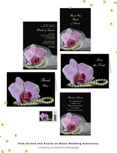 Set an elegant tone for your marriage when you personalize the pretty Pink Orchid and Pearls on Black Wedding Stationery Collection of invitations, save the dates, thank you notes and postage stamps. These classy custom wedding paper products feature a floral photograph of a pink phalaenopsis orchid flower blossom, white pearl necklace and bridal veil with a black background. #pinkwedding #orchidwedding #pinkandblack