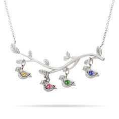 4 Stone Birthstone Birds on Branch Mother's Necklace, So cute! @starlightcg @aceuppgard @jessitchens @tkawertz @mooberly @nainmaine @Andromace  $52!