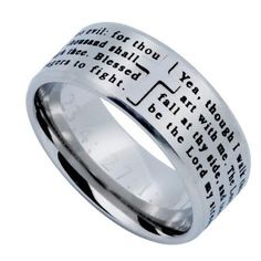 PSALM 23:4 Cross Ring for Men, Engraved Bible Verse, Stainless Steel