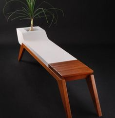 Modern-Bench-Perfect-for-Green-Room-by-Jory-Brigham best furniture idea dot com Bench Furniture, Unique Furniture, Custom Furniture, Furniture Design, Modern Bench, Deco Design, Furniture Inspiration, Chair Design, Concrete Bench