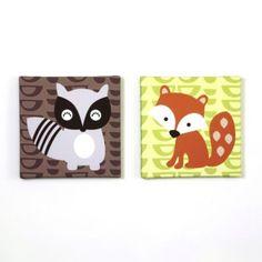 Belle Foxy & Friends 2-Piece Canvas Art Set - BedBathandBeyond.com