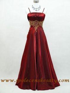Červené dlouhé šaty na ples na svatbu se zlatou nášivkou pro plnoštíhlé vel. 48 50 52 54 59 58 60 XL č. 4027