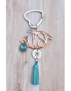 Μπρελόκ - Γούρι Turquoise Tassel & Wish Key, Personalized Items, Unique Key