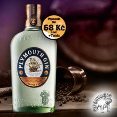 Plymouth Gin je unikátní druh ginu v Cafe Bulldog Břeclav Plymouth, Gin Tonic, Whisky, Vodka Bottle, Drinks, Drinking, Beverages, Drink, Whiskey