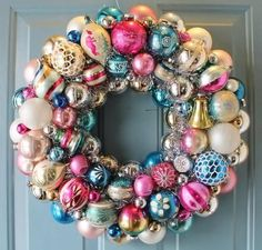 Create a bold wreath using vintage ornaments.