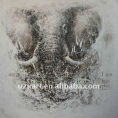 Contemporary abstract animal oil painting of elephant on canvas