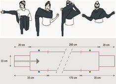 SCHÉMA - Écharpe/cache-épaules croisé à manches à faire en tricot, crochet, couture...