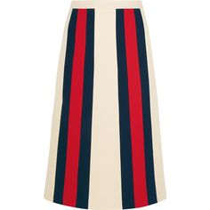 Gucci Striped wool and silk-blend crepe skirt ($1,030) ❤ liked on Polyvore featuring skirts, ecru, a-line skirts, crepe skirt, polka dot skirt, knee length a line skirt and gucci skirt