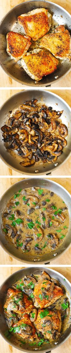 Chicken and Mushrooms with Creamy Herb Sauce - moist and tender chicken thighs with crispy skin! #BHG #sponsored