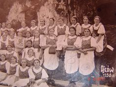 1938, Ojcow, Poland. Polish girls from Imbramowice monastery. They were studying how to run home, baking, gardening... You won't find these principals in these days schools.